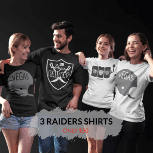 Silver & Black Box – 3 Vegas Raiders Inspired T-Shirts (Basic)