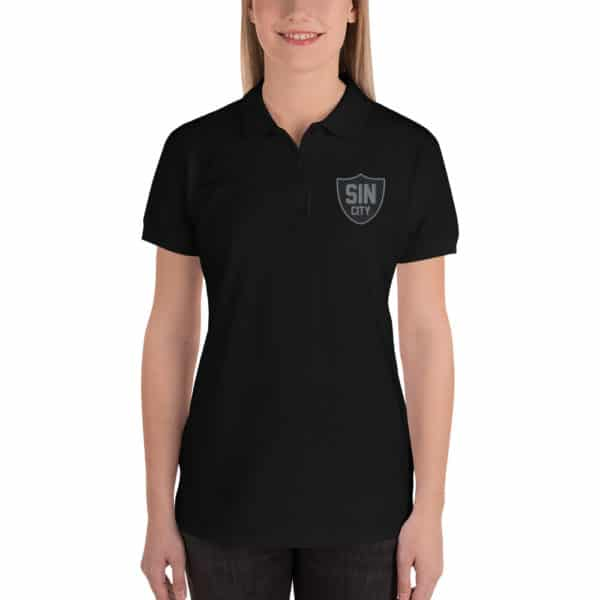 Sin City Raiders Shield Embroidered Women's Polo Shirt
